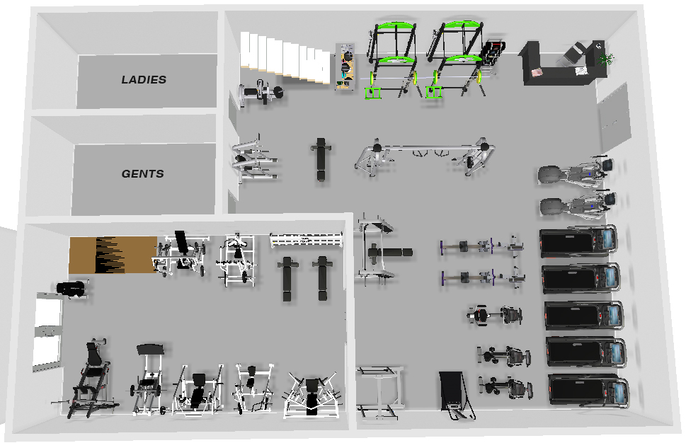 Cashel 3d gym layout xtreme csc ireland for Gym designs and layout